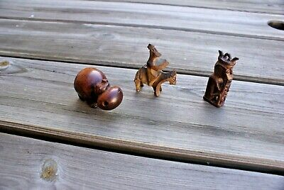 3 Vintage Carved Wooden Small Ornaments Hand Carved Detail Figures