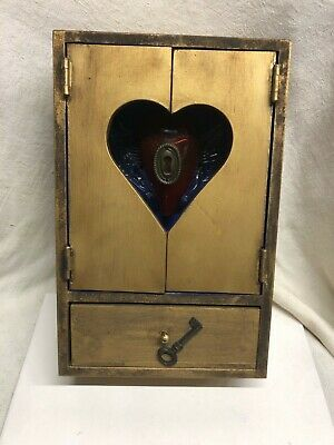 WALL CABINET Wood & Glass Heart Curio Handmade Carved Shadow Box w Lock & Key