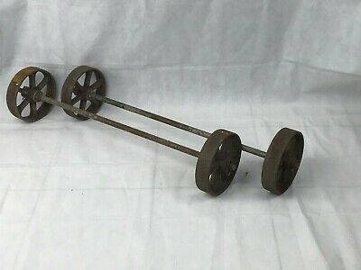 Set of 2 Antique Axles with Wheels Cast-Iron for Carriages, Wagon