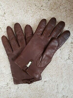 Vtg VAN RAALTE Chocolate Brown 100% Leather Gloves SOFT Size 7.5 Made in Romania