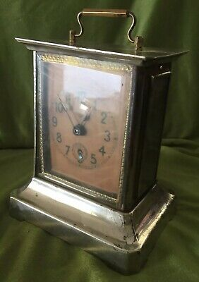 GERMAN CARRIAGE Mantel CLOCK ANTIQUE COLLECTIBLE With Key