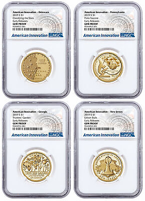 2019S American Innovation 4-Coin Dollar Proof Set NGC GEM PF ER SKU59685