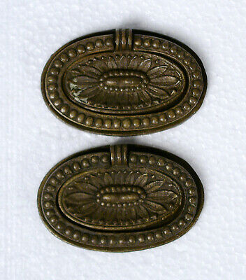 """Pair Antique Brass Oval Ring Pull Hepplewhite Style 2.5"""" W Post Mount Reclaimed"""