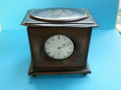 "A beautiful 19thc olive wood ""Sorrento"" inlaid pocket watch holder"