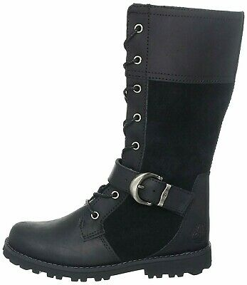 Junior Girls Childrens Timberland Classic Tall Zip Up Black Leather Boots UK