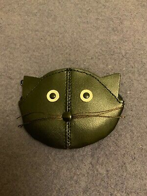 Golunski Hci Leather Kids Coin Purse, Black Cat Face, New