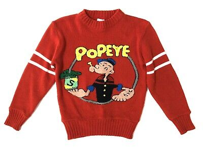 VTG Popeye Sailor Man Child's Sweater Red Acrylic Cartoon Character 4T 5T 1981