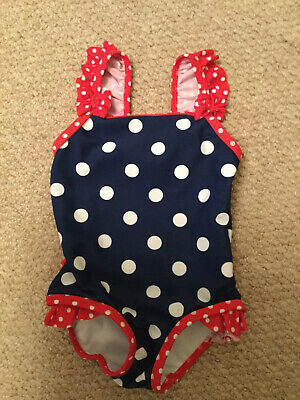 Boots Mini Club Baby Girls Navy And Red White Spot Swim Suit Age 6-9 Months