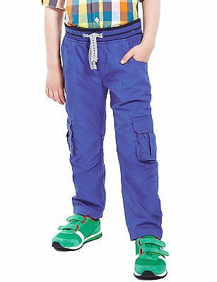 Boys blue lined warm cargo trousers from Marks and Spencer age 2-3 years nwt