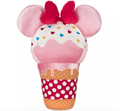 "NWT Disney Parks 20"" Scented Minnie Mouse Pink Ice Cream Cone Plush Sweet Treat"