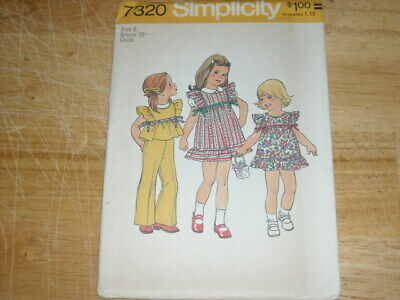 👼🏻 Uncirculated 1975 - Girls Pretty Pinafore Dress - Top & Pants Pattern 6 Ff