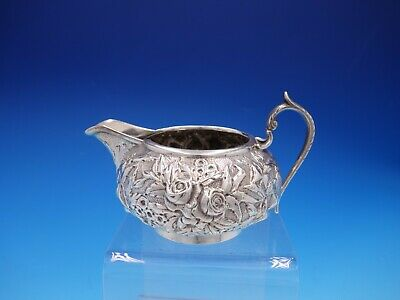 AE Warner Hand Chased Coin Silver Repousse Floral Pattern Creamer (#4282)