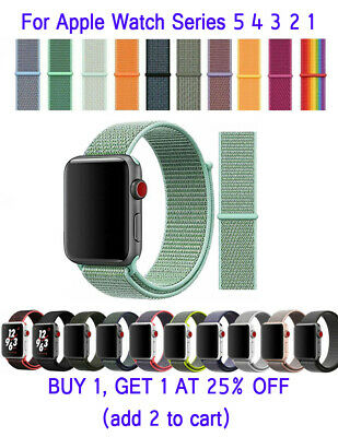 Woven Nylon Band For Apple Watch Sport Loop iWatch Series 5/4/3/2/1 38mm-44mm