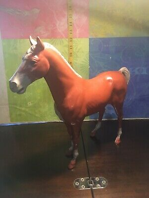 """MARX VINTAGE HORSE Large 13"""" X 14"""" X 3 1/2. Brown With Wheeled Hooves."""