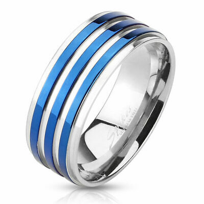 Men's Women's Ring Stainless Steel Silver with Blue Stripes Band Ring Polished