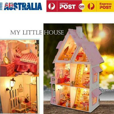 Doll House Miniature DIY Kit Dollhouse Furniture LED Lights Kids Xmas Gift AU