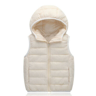 Boys Girls Winter Warm  padded coat quilted hooded waistcoat Kids vest outerwear