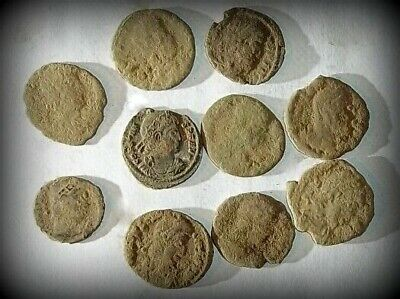 10 ANCIENT ROMAN COINS AE3 - Uncleaned and As Found! - Unique Lot 30614