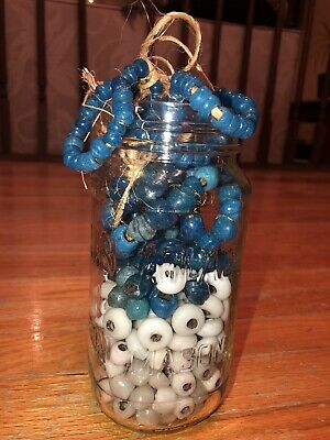 Vintage Glass Macrame Beads - Lot Of 361, Blue