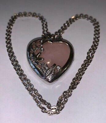 Rose Quartz Heart Pendant Necklace, Crystal Healing, Long Chain.