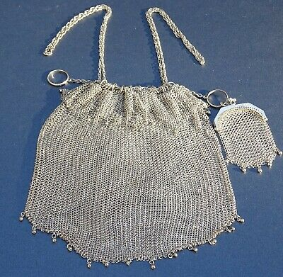 Antique Late Victorian Edwardian Sterling Silver Chainmail Mesh Handbag & Purse