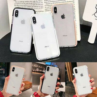 Clear Shockproof Soft Bumper Silicone Case Cover For iPhone 7 8 Plus XR XS Max X