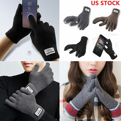 Men Women Winter Gloves Windproof Warm Thick Knit Touch Screen Thermal Gloves US