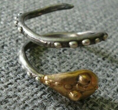 Antique Ancient Roman Gold Silver ring Snake Very Fine Unique Wearable Amazing