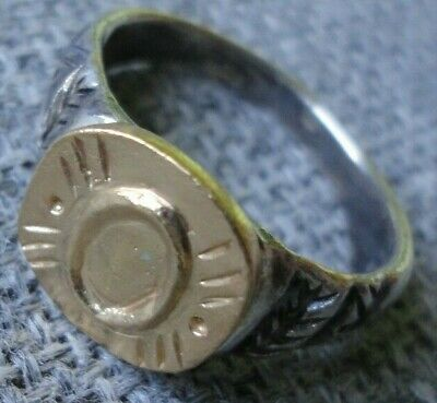 "Antique Ancient Roman Gold Silver ring Inscribed Latin letter "" O "" Very Fine"