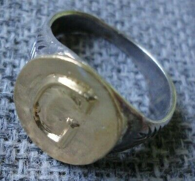 "Antique Ancient Roman Gold Silver ring Inscribed Latin letter "" G "" Very Fine"