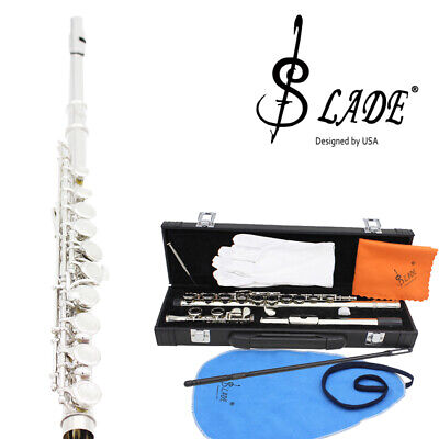 Cupronickel Plated Silver Flute 16 Holes C Key+Clean Cloth Stick Glove Case D7Z4