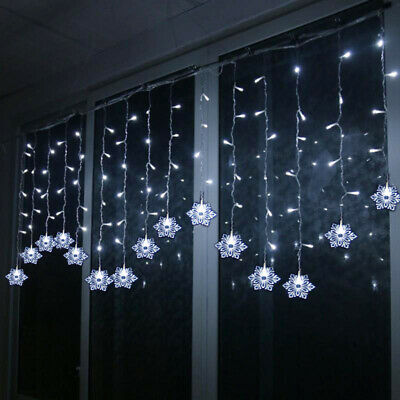 Xmas 150 Led Snowflake Icicle Snowing Mains Plug Curtain