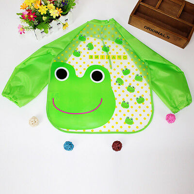 2PCS Baby Kid Toddler Feeding Bibs Long Sleeve Plastic Smock Apron Cartoon Print