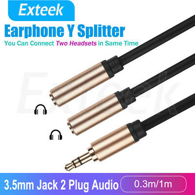 Earphone Y Splitter 3.5mm Audio Cable Jack Headphone Headset Auxiliary Adapter