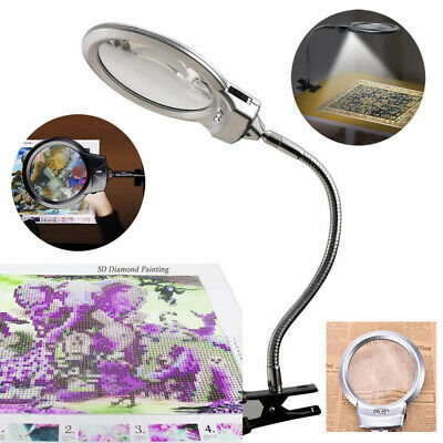 Large LED Lighted Lamp Desk Magnifier Magnifying Glass with Clamp LED Light