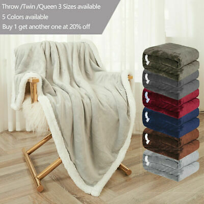 Sherpa Fleece Blanket Soft Plush Fabric Warm Thickened Bed Sofa Throw Twin Queen