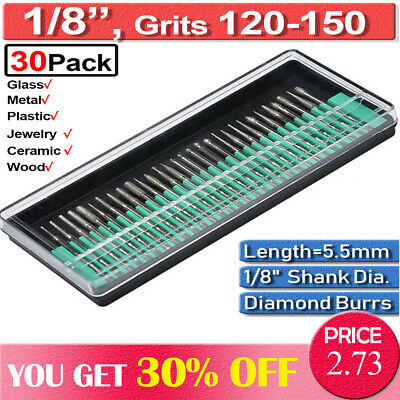 30Pc Diamond Burr Grinding Dremel Rotary Drill Bit Set Glass Engraving Tool DIY