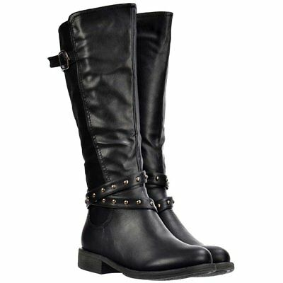 Onlineshoe WOMENS GIRLS KNEE HIGH RIDING WINTER BOOTS WORK SCHOOL BLACK SIZE UK3