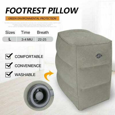 Inflatable Foot Rest Cushion Travel Air Pillow Office Home Leg Footrest Relax SS
