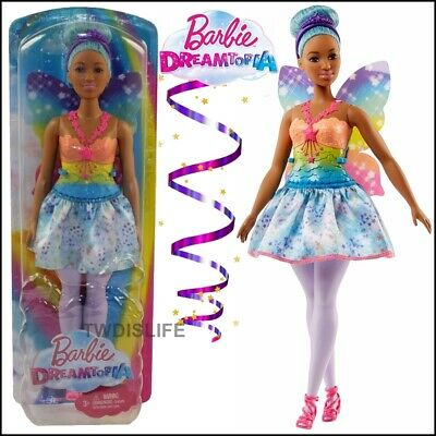 Barbie Dreamtopia Fairy Doll Blue Hair Beautiful Rainbow Outfit By Mattel NEW
