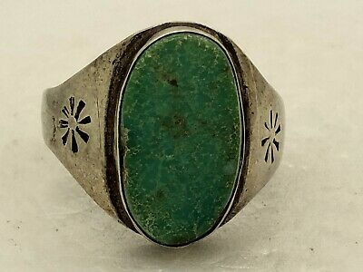 Early Men's Sterling Silver Turquoise Ring Stamped Native American Sz 13.5 7/8""