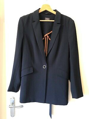 Marks & Spencer Ladies Navy Suit Jacket UK 16 Large Pockets Tie Back Lighweight
