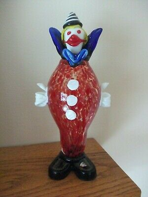 "Vintage Murano Clown 10"" tall Figure Figurine Venetian Italian Art Glass Italy"