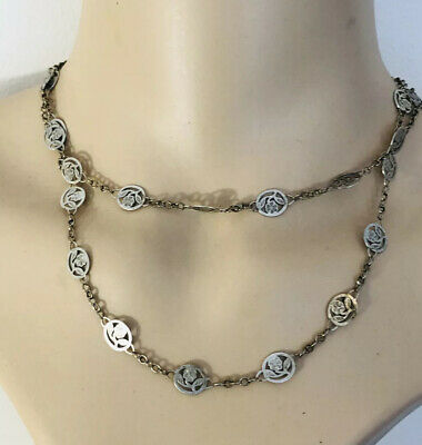 Antique  Art Nouveau Sterling  Silver Long Necklace , 925 , Heavy