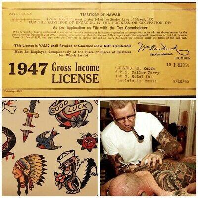 sailor jerry norm keith china sea vintage '47 tattoo business license card rollo