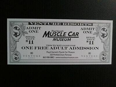 ONE FREE ADULT ADMISSION to the MUSCLE CAR MUSEUM in Sevierville, TN - $11 Value