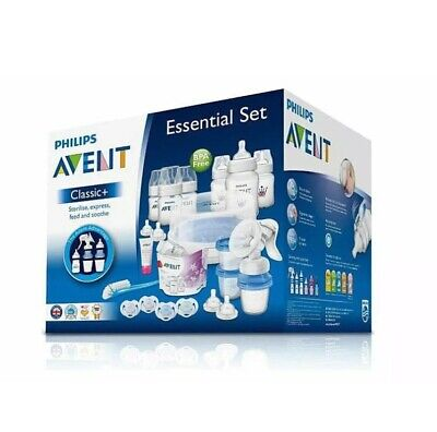 Philips Avent Classic Plus Essentials Newborn Set Feeding Sterilising Breastpump