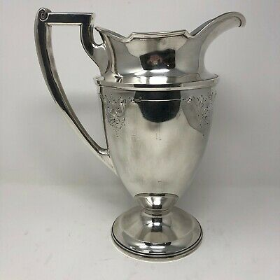 Barbour International Hand Chased Pitcher Water Silver Plate Engrave Design 5334