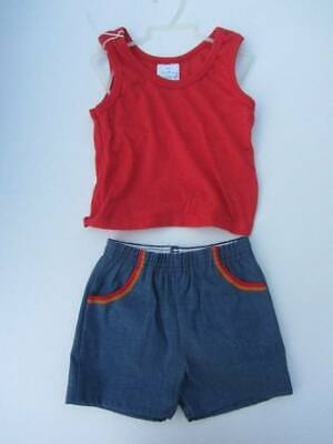 Vintage baby two piece red vest and denim shorts age 18 months new 70's