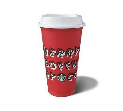 Starbucks 2019 Red Reusable Hot Cup Grande 16 oz Plastic Coffee Holiday Merry